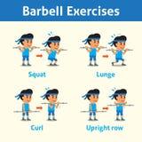 Sistema de la historieta de un hombre que hace el paso del ejercicio del barbell para la salud y la aptitud Fotos de archivo