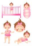 Sistema de la historieta del bebé Foto de archivo libre de regalías