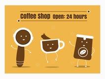 Sistema de la historieta del café ilustración del vector