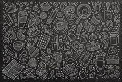 Sistema de la historieta del garabato del vector de té y de coffe ilustración del vector