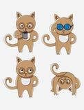 Sistema de la historieta del gato Imagenes de archivo