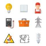 Sistema de la historieta del icono de la industria del electricista Imágenes de archivo libres de regalías