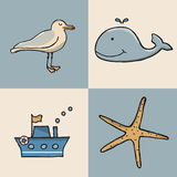 Sistema de la historieta del icono marino Foto de archivo libre de regalías