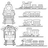 Sistema de la historieta del tren, del viaje del tren con los niños y de la página del colorante del amigo para el vector del niñ Imágenes de archivo libres de regalías