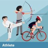 Sistema de la historieta del vector del deporte atlético Imagen de archivo libre de regalías