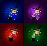 Sistema de la historieta del vector de las tarjetas de Halloween con las pequeñas brujas del bebé en traje y sombrero ilustración del vector