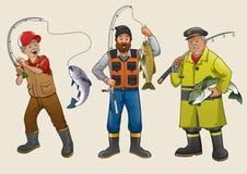Sistema de la historieta de la gente del pescador ilustración del vector