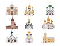 Sistema de la historieta de iglesias con diversas denominaciones stock de ilustración
