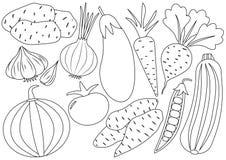 Sistema de la historieta de las verduras, iconos Libro de colorante libre illustration
