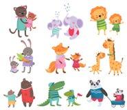 Sistema de la historieta de retratos animales lindos de la familia Gatos, elefantes, leones, conejitos, zorros, jirafas, osos, co ilustración del vector