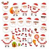 Sistema de la historieta Santa Claus para su diseño o animación de la Navidad Fotos de archivo libres de regalías