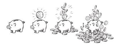Sistema de la hucha de la historieta Vacie, con una moneda, con las monedas que caen, apiladas sobre el dinero Riqueza y concepto libre illustration