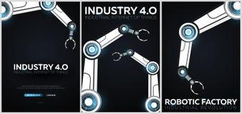 Sistema de la industria 4 banderas 0 con el brazo robótico Revolución industrial elegante, automatización, ayudantes del robot Il stock de ilustración