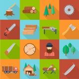 Sistema de la industria de la madera ilustración del vector