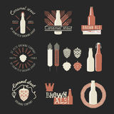 Sistema de la insignia de la cerveza del vintage Foto de archivo