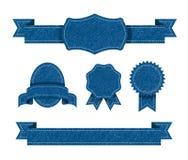 Sistema de la insignia de la textura de los vaqueros Fotografía de archivo libre de regalías