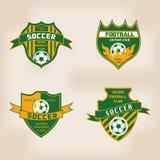 Sistema de la insignia Logo Design del fútbol del fútbol Foto de archivo libre de regalías