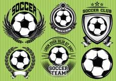 Sistema de la insignia Logo Design Templates del fútbol del fútbol Foto de archivo