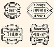 Sistema de la insignia o de Logo Design Elements, vector Illustratio del vintage Fotografía de archivo