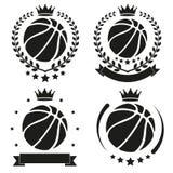 Sistema de la insignia y de la etiqueta del club del baloncesto del vintage Fotografía de archivo