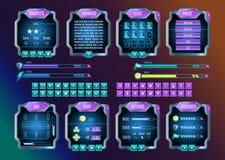 Sistema de la interfaz gráfica de usuario del espacio del juego UI Vector Imagenes de archivo