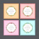 Sistema de la invitación de la boda Tarjeta de felicitación con el marco redondo de la flor W stock de ilustración