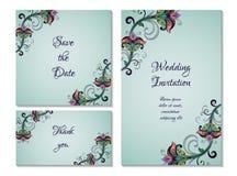 Sistema de la invitación de boda Fotos de archivo libres de regalías