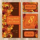 Sistema de la invitación de boda de las plumas del pavo real Ejemplo imprimible del vector Fotos de archivo libres de regalías