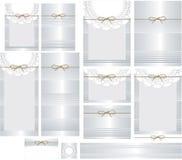Sistema de la invitación de la lata y de la boda del tapetito del cordón Fotos de archivo libres de regalías