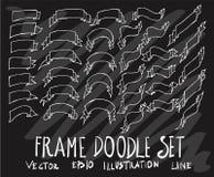 Sistema de la línea blanca de la bandera de la cinta de la colección del dibujo del garabato del vector Fotos de archivo libres de regalías