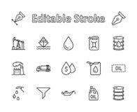 Sistema de la línea del petróleo iconos del vector Contiene los iconos tales como el camión de combustible, gasolinera, fábrica d imagenes de archivo