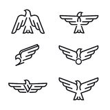 Sistema de la línea despredadora iconos de los pájaros, aislado en el fondo blanco Foto de archivo