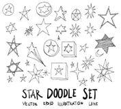 Sistema de la línea dibujada mano ep del bosquejo del garabato del ejemplo de la estrella del vector stock de ilustración