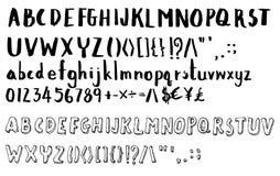 Sistema de la línea dibujada mano vector EPS del bosquejo del ejemplo del cepillo de la fuente Foto de archivo