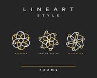 Sistema de la línea elegante diseño del arte Elemento del diseño del monograma Fotos de archivo