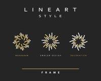Sistema de la línea elegante diseño del arte Elemento del diseño del monograma Fotografía de archivo