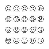 Sistema de la línea emoticons Imagen de archivo libre de regalías