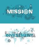 Sistema de la línea fina banderas de la palabra de la misión y de la inversión ilustración del vector