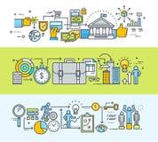 Sistema de la línea fina banderas planas del concepto de diseño para el proceso en línea del pago y de negocio stock de ilustración