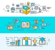 Sistema de la línea fina banderas planas del concepto de diseño para la educación en línea stock de ilustración