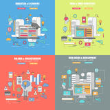 Sistema 4 de la línea fina concepto de diseño plano para el diseñador, la educación y el márketing de aprendizaje, viral y video libre illustration