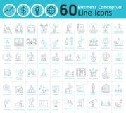 Sistema de la línea fina conceptual colección del negocio de los iconos stock de ilustración