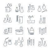 Sistema de la línea fina equipo de laboratorio químico de los iconos Fotos de archivo libres de regalías