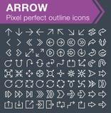 Sistema de la línea fina iconos de la flecha Fotografía de archivo libre de regalías