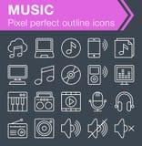 Sistema de la línea fina iconos de la música Fotografía de archivo