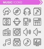 Sistema de la línea fina iconos de la música Fotos de archivo