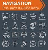 Sistema de la línea fina iconos de la navegación Foto de archivo libre de regalías