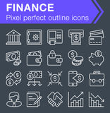 Sistema de la línea fina iconos de las finanzas Fotografía de archivo