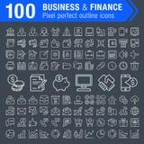 Sistema 100 de la línea fina iconos de las finanzas y del negocio Imagenes de archivo