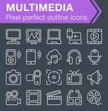Sistema de la línea fina iconos de las multimedias Foto de archivo libre de regalías